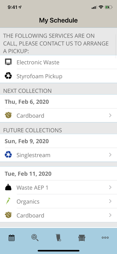 RecycleSmart Waste Pickup Schedule Example